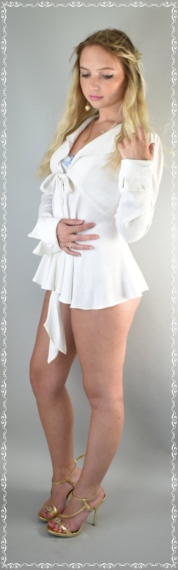 Ossie Clark Moss crepe ivory top 70's small - image 5