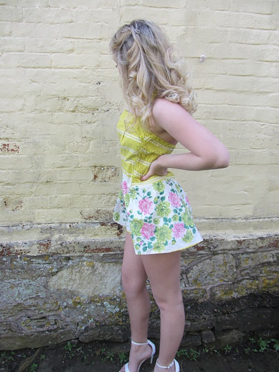 vintage 50's swimsuit yellow floral sundress skir… - image 10