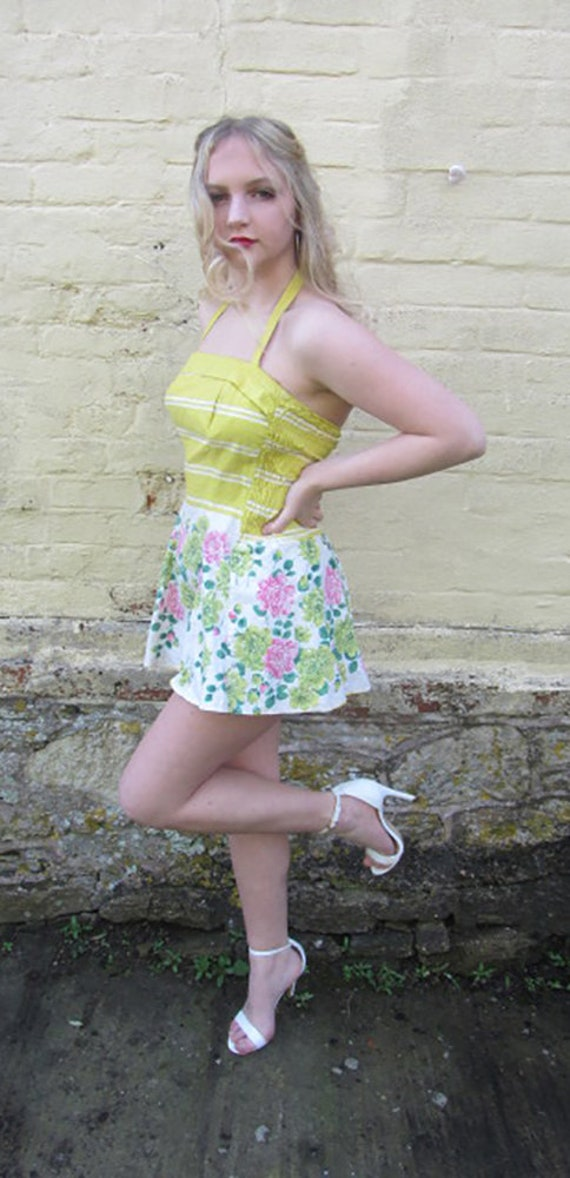 vintage 50's swimsuit yellow floral sundress skir… - image 2