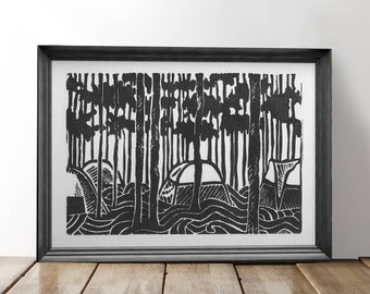 Camping in the Woods Block Print