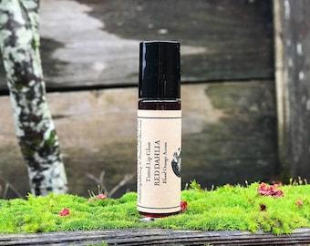 Tinted Lip Gloss • RED DAHLIA • Blood Orange Aroma • Rosy Red Hue • Vegan + Natural + Cruelty Free