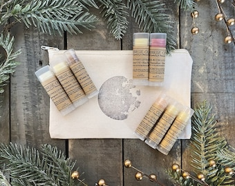 Lip Balm Gift Set • 8 Different Lip Balms • Moon Stamped Organic Cotton Bag