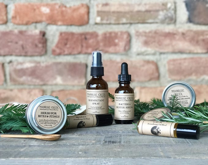 First Aid Kit • Herbal Apothecary • Healing, Disinfecting, Anti-Bacterial, Calming, Awakening, Bites & Stings • Vegan