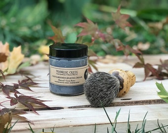 Old Fashioned Shaving Cream • Charcoal + Cocoa Butter • Sandalwood + Pine + Peppermint • Healing & Nourishing