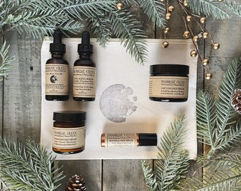 Serums & Creams Gift Set • Five Items • Moon Stamped Organic Cotton Bag
