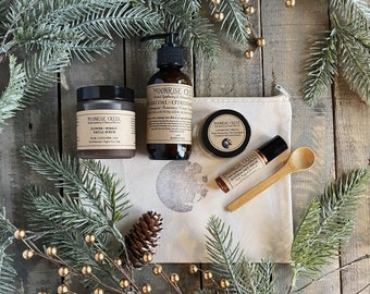 Skin Care Gift Set • For All Skin Types •Four Items • Moon Stamped Organic Cotton Bag