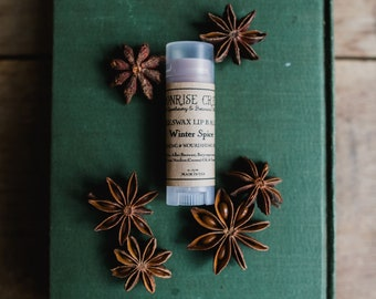 Winter Spice Lip Balm • A Warming Herbal Blend • Beeswax Base • Nourishing + Plumping + Healing • Seasonal