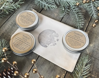 Salves Gift Set • Three Salves • Moon Stamped Organic Cotton Bag