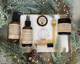 Acne Prone Skin Care Gift Set • Five Items • Moon Stamped Organic Cotton Bag