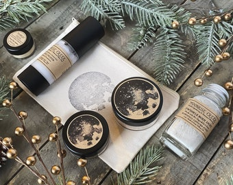 Essentials Cosmetic Gift Set • Five Items • Moon Stamped Organic Cotton Bag