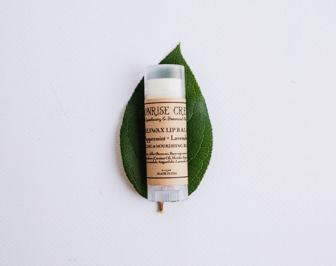Beeswax Lip Balm • Peppermint + Lavender • Healing & Nourishing Blend