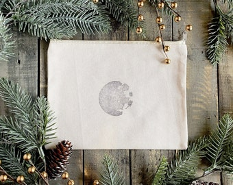Moon Stamped Organic Cotton Bag • Cosmetic Bag • Travel Bag • Gift Bag
