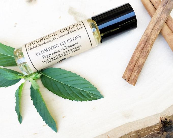 Lip Plumper Lip Gloss • Peppermint + Cinnamon • Full Lips + Feel Good Tingles + Increased Circulation • Vegan + Natural + Cruelty Free