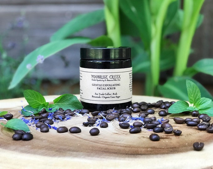 Gentle Exfoliating Facial Scrub • For all skin types • Organic Fair Trade Coffee + Rich Botanicals + Organic Cane Sugar & Pure Essential Oil