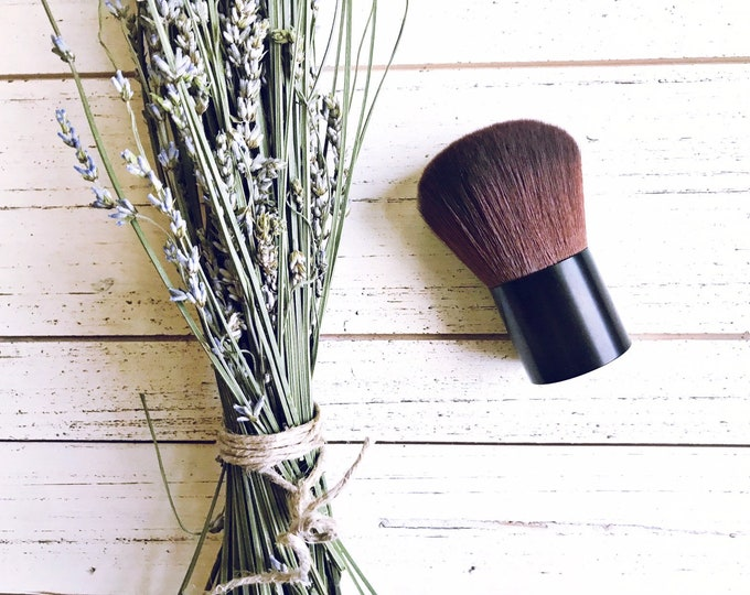 Large Kabuki Face Brush • Brown Vegan Faux • Cruelty Free • Matte Black Handle and Black Ferrules • Mineral Powder Brush • Odor + Dye Free