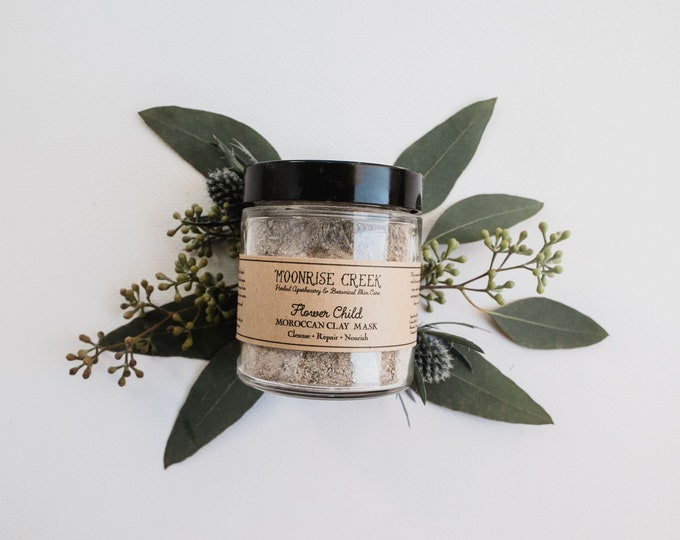 Flower Child Moroccan Clay Mask • Cleanse + Repair + Nourish • Skin Detox Facial Care