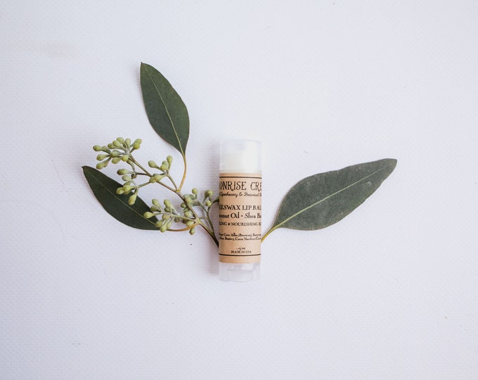 Beeswax Lip Balm • Coconut Oil + Shea Butter • An Unscented Botanical Blend • Healing & Nourishing