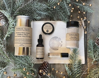 Luxury Skin Care Gift Set • Five Items • Moon Stamped Organic Cotton Bag