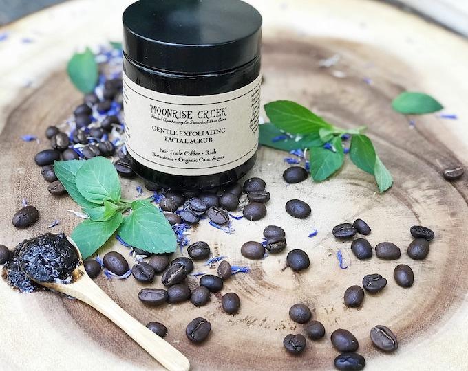 Gentle Exfoliating Facial Scrub • For all skin types • Organic Fair Trade Coffee + Rich Botanicals + Organic Cane Sugar & Pure Essential Oil