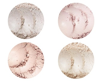 Highlighting Illuminators • Moon Beam + Champagne + Rose Quartz + Luminous • Loose Powder • Shimmering Perfection • Earth Mineral Cosmetics