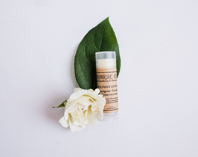 Beeswax Lip Balm • Lemongrass + Cardamom • Healing & Nourishing Blend