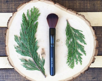 Small Rounded Face Brush • Brown Vegan Faux • Cruelty Free • Matte Black Wood Handle and Black Ferrules • Cream and Powder • Odor + Dye Free