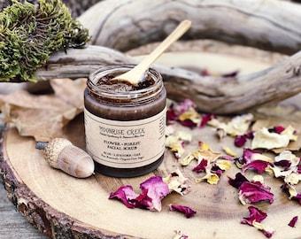 Flower + Forest Face Scrub • Rose + Lavender + Oak • Pure Botanicals • Organic Cane Sugar • Pure Essential Oil