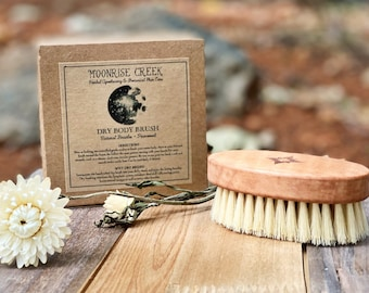 Dry Body Brush • Cleansing + Exfoliating • Eco Friendly Body Care Routine • Natural Bristles + Pear Wood