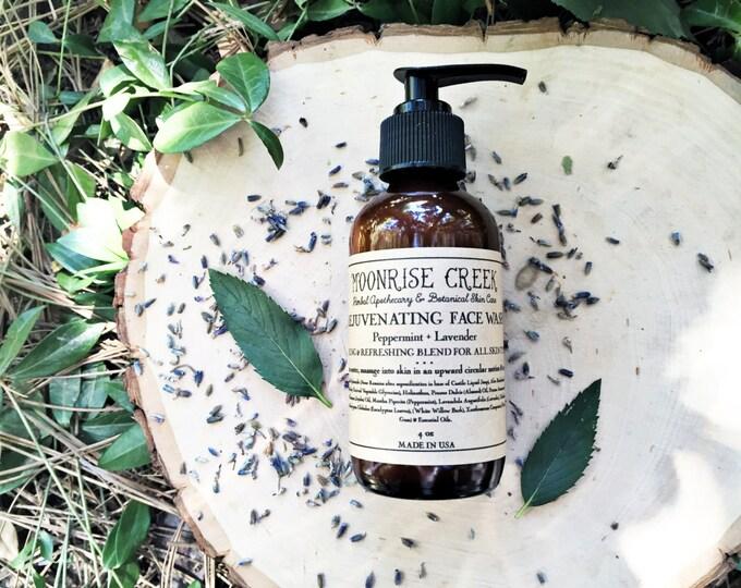 Rejuvenating Face Wash • Cooling & Refreshing Blend for all Skin Types  • Peppermint + Lavender • Excellent for Acne Prone Skin