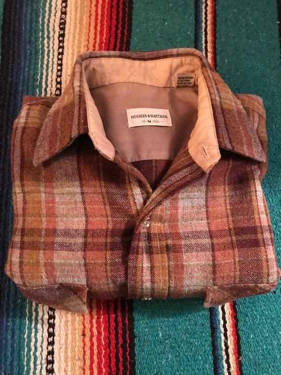 Vintage WOOL Grey & Brown Plaid Winter Shirt  | Ou