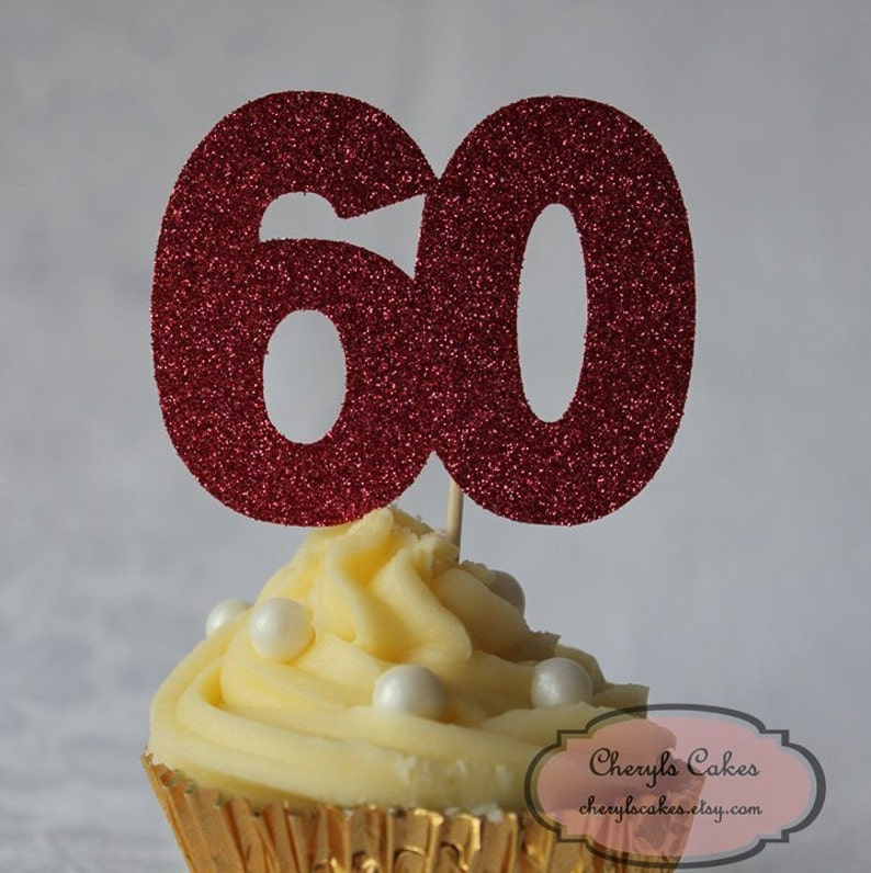 Various Colours Available Set of 12 Birthday Number Glitter Cupcake Topper