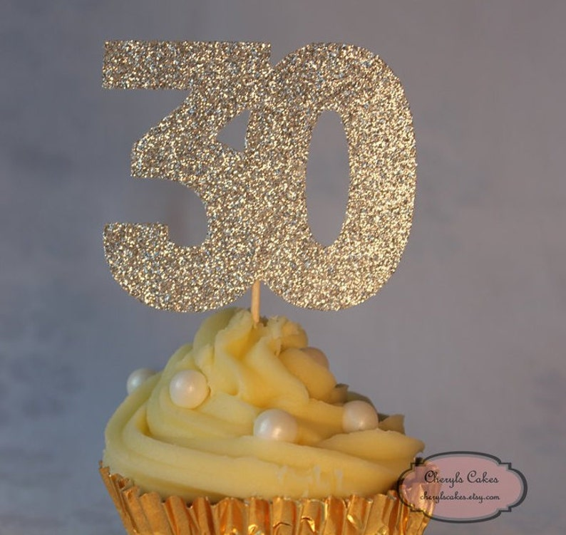 Various Colours Available 30th Birthday Glitter Cupcake Topper Set of 12