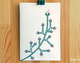 Branch with flower card-branch postcard-letterpress