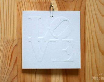 Love Card-Love postcard-letterpress-embossed
