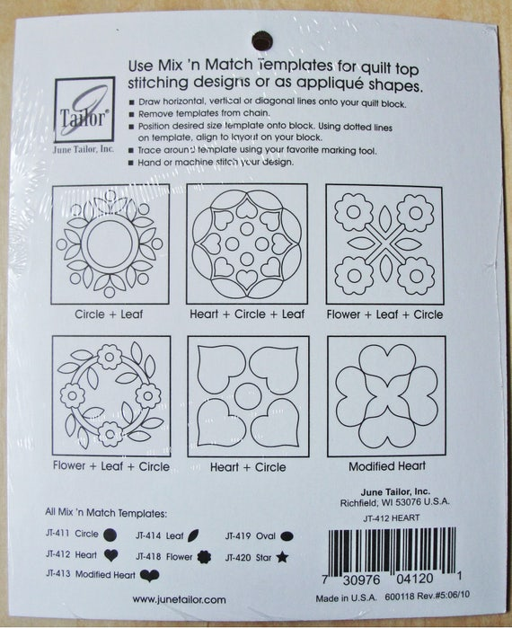 June Tailor Jt411 Mix-n Multi-colour Circles Match Templates For Quilters
