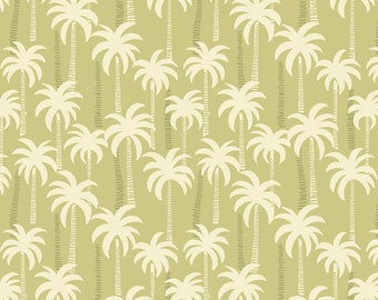 Lewis & Irene Patchwork Quilting Fabric Palm Trees A132.2 Sand