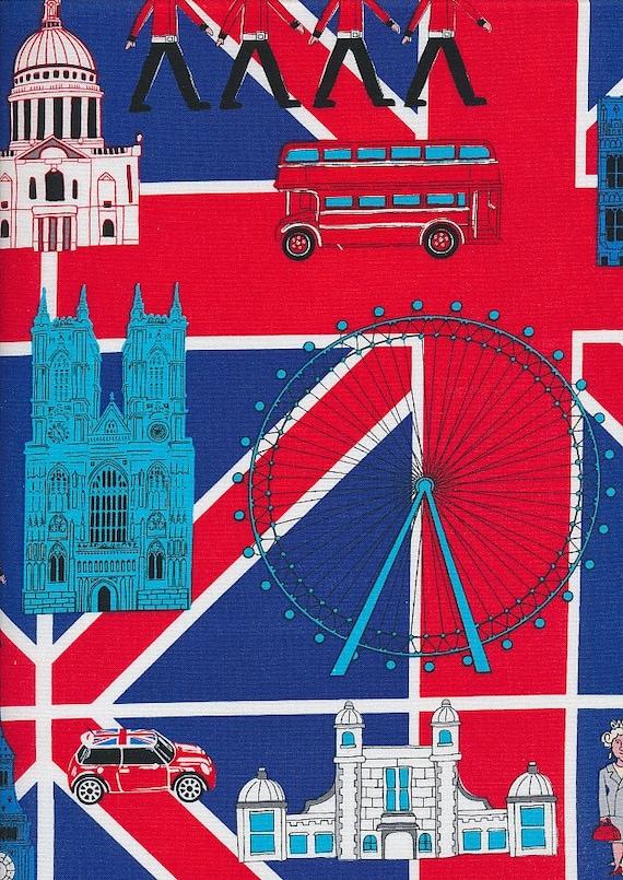 Very British,Patchwork 1 meter London England,Union Jack Cotton