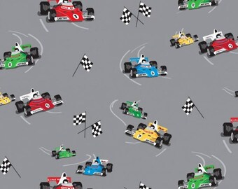 Grand Prix Racing Cars 89760 - Nutex Patchwork Quilting Fabric