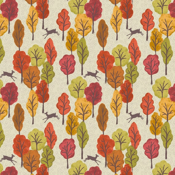 Cotton Fabric FQ quilting Lewis and Irene Autumn in Bluebell woods Sycamore