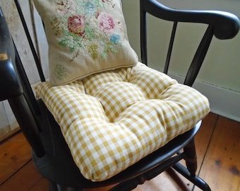 Mustard Chair Cushion, Gingham, French Country, Tufted Pad, Farmhouse,  Cottage Chic Seat Cushion Rocking Chair 16 Inch, Kitchen, Dining Room
