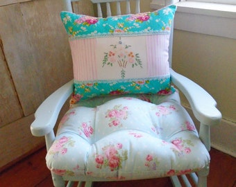 Aqua Chair Pad, Tufted Cushion With Ties, Shabby Chic, Floral Seat Kids  Room Rocking Chair, 16 Inch Bedroom, Nursery Decor, Girly, Cute