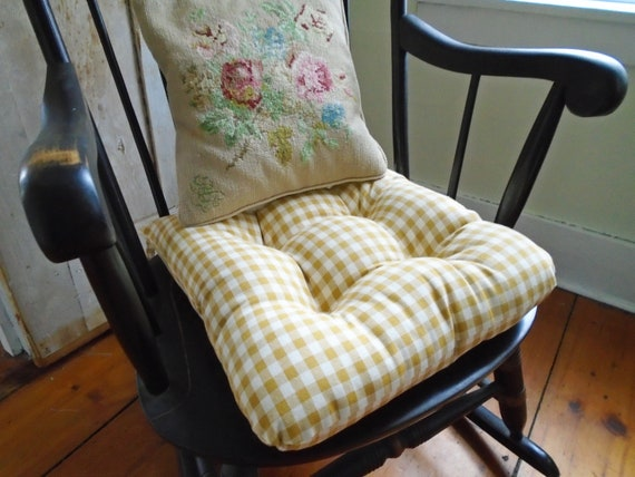Enjoyable Mustard Chair Cushion Gingham French Country Tufted Pad Farmhouse Cottage Chic Seat Cushion Rocking Chair 16 Inch Kitchen Dining Room Dailytribune Chair Design For Home Dailytribuneorg