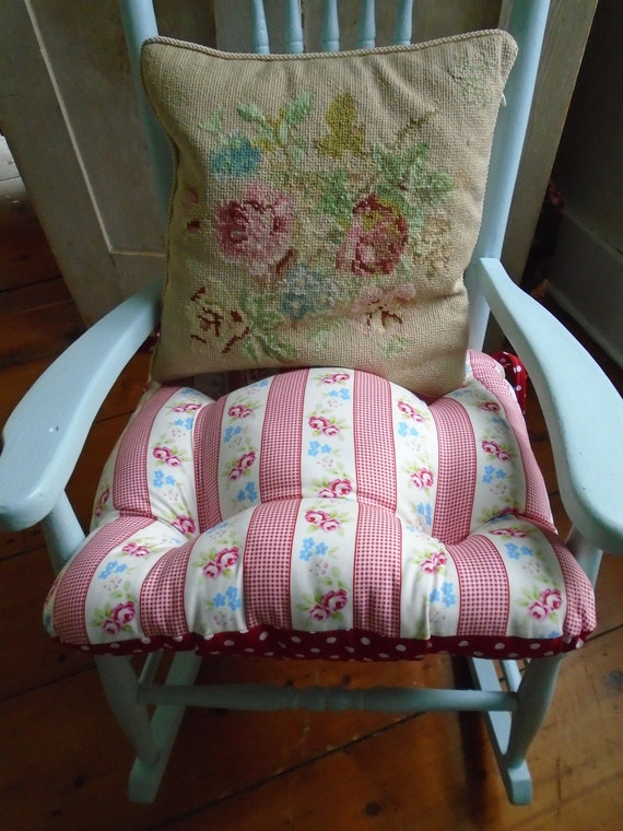 Rocking Chair Cushion Floral Tufted Pad Red Roses Polka Etsy