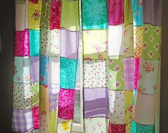 Boho Patchwork Curtains, 2 Panels, Shabby Chic, Handmade, Unlined, Kids, Baby, Kitchen Window, Bohemian Style, Hippie Jewel, Kids, Classroom