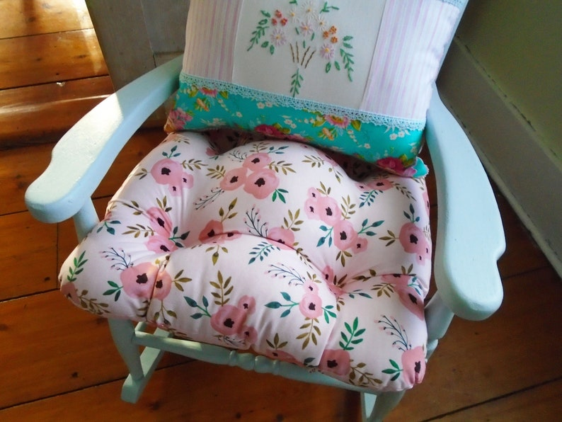 Pink Chair Cushion Tufted Pad Pastel Watercolor Floral Etsy