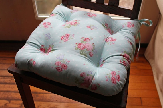 Aqua Chair Pad Tufted Cushion With Ties Shabby Chic Floral Etsy