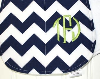 Personalized Baby Burp Cloths - Set of three - Baby Burp Rags -  -Navy Chevron, Houndstooth, Polka Dots - Gender Neutral Burp Cloths