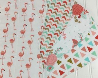Gold Baby Burp Cloths - Baby Burp Rags - Boutique Quality - Set of four. Coral, Mint, Rose and Gold Burp Cloths, Glitz Burp Cloths, Flamingo