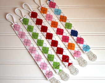 Pacifier Clip or Toy Clip, Argyle Universal Pacifier Clip with plastic clip, Soothie Clip, Pacifier Holder, Binky Clip