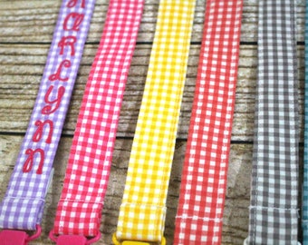 Personalized Pacifier Clips with plastic clip, Gingham Pacifier Clips - Mam Gumdrop Nuk Avent Soothie Binky Clips, Buffalo Check, Plaid